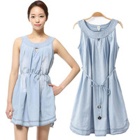 Sleeveless Denim A-Line Pleated Mini Dress