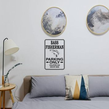 Bass Fisherman Parking Only Sign Vinyl Wall Decal - Removable (Indoor)