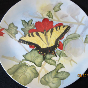 Butterfly Yellow, Red Flower Plate Dish, Home Decor or Serving, Porcelain Ceramic Pottery, Hand Painted and Kiln Fired by B. Marsh