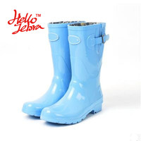 Women's Mid Calf Rain Boots. Blue Wellies Style Solid Buckle Nubuck Rain boots.