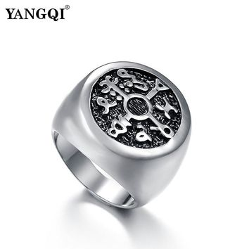YANGQI Stainless Steel Protection Seal of Solomon Kabbalah Magic Rings Men Cool Symbol Antique Silver Color Biker Rings for Male
