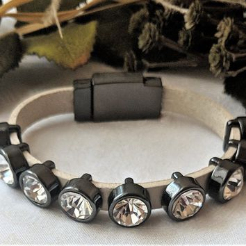 Leather Gunmetal Crystal Slider Bracelet w/Magnetic Clasp