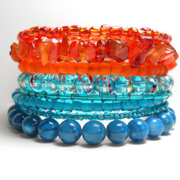 Stacked Bracelet Tangerine and Turquoise Memory Wire Beaded Wrap Color Block