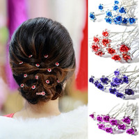 10pcs/lot Rose Flower Crystal Rhinestone Wedding Party Bridal Prom Hair Pin Hair Clips Accessory = 1932301508