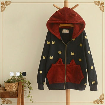 Japanese cat students hooded coat