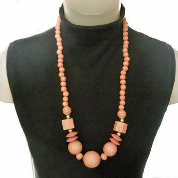 Vintage Chunky Long Necklace - Wooden Beads - Peach Color