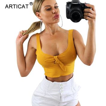 Articat Bow Tie V Neck Summer Crop Top Women White Sleeveless Backless Casual Short Top Tees Camis Sexy Bustier Feamle Tank Tops