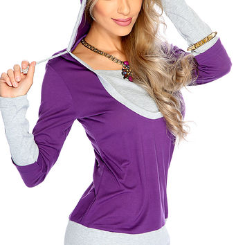 Casual Cute Purple Two Tone Hooded Sweater Dress