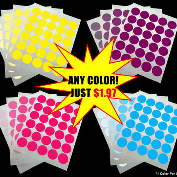 "1.5 Inch Round Stickers, 1.5"" In Circle Sticker, Customized Any Color Round Stickers, Personalized All Colors, 30 per Label Sheet 1 1/2 1/2"""
