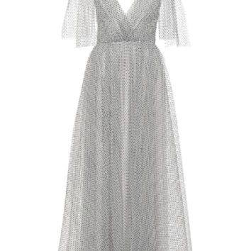 Flocked Tulle Gown With Bow Detail   Moda Operandi