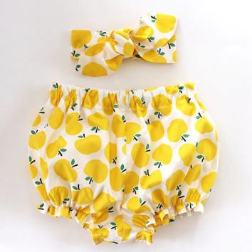 Yellow Apples, Baby Bloomers and Headband Set, baby knot headband, baby girl bloomers, baby girl headband, bloomers set, baby bloomers