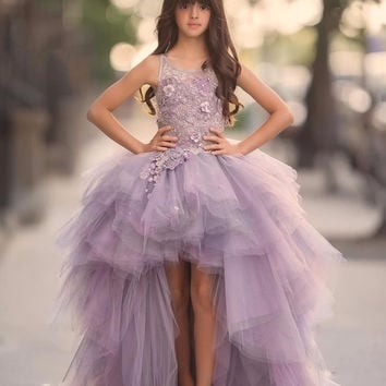 Ball Gown Flower Girls Dress 2016 for Teens 3D Floral Appliques Hand Made Flowers Purple Ball Gown Junior Party Pageant Dress