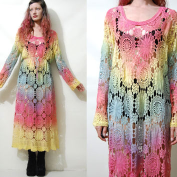 CROCHET DRESS Rainbow Full Lace Long Maxi Ombre Sheer Long sleeve Vintage Bohemian Boho Hippie Gypsy ooak Handmade L XL