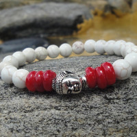 Budda Stretch Bracelet/Magnesite with Red Coral Round Beads/Whites and Reds