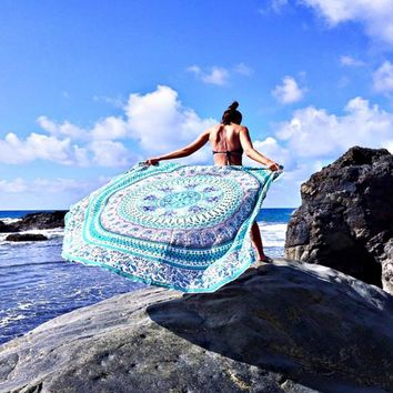 Blue Green Bohemian Yoga Beach Wall Boho Round Tapestry
