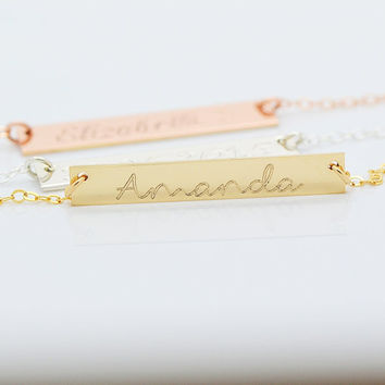 Bar Necklace, Personalized Gold Necklace Bar, Name Plate Bar Necklace, Custom Name Bar, Hebraw Letter Necklace, Greek Letter, Chinese, 5x35