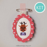 Kawaii Cross Stitch KIT DIY gift -Wooden Frame with woodland animals Brooch Pin Tag- Modern cross stitch bunny deer squrriel fox gift ideas
