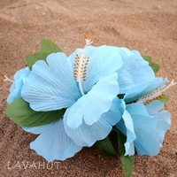 Hibiscus Blue Hawaiian Flower Hair Clip