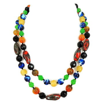 Art Glass Beads Necklace Italy Vintage Jewelry