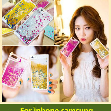 New Floating glitter Heart Running Quicksand Liquid Dynamic Hard Case phone case clear shining Cover For iPhone 5/5s/6/5c iphone 6 plus