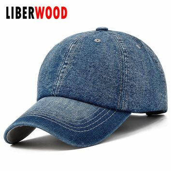 Denim Plain Solid Blue Jeans Style Baseball Hat Cap Cowboy Dad Hat Curved Ball Cap BLUE USA Distressed Vintage Look