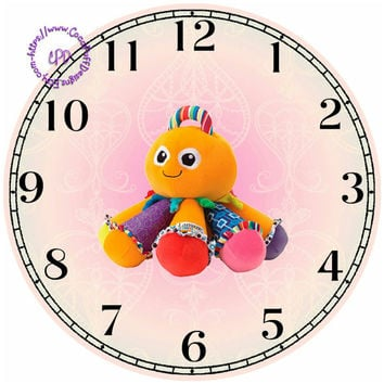 """Rainbow Octopus Toy Art - -DIY Digital Collage - 12.5"""" DIA for 12"""" Clock Face Art - Crafts Projects"""