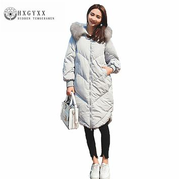 New Loose Leisure Thicken Women Cotton Coat Pure color Long sleeve Hooded Winter jacket Zipper long straight Outerwear ZX0052