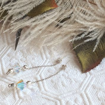 Artisan Crafted Sterling Silver Crystal Chain Drop Dangle Post Earrings