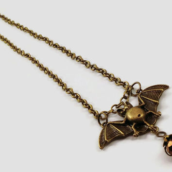 Chain Brass Bat Necklace - Gothic Jewelry - Horror Jewelry - Bat Jewelry - Halloween Necklace - Brass Necklace