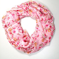 Spring, Summer Lightweight Infinity Scarf, Loop Scarf, Circle Scarf, Single Loop, Double Loop, Vintage Flower Print, Pink & Red, Birthday