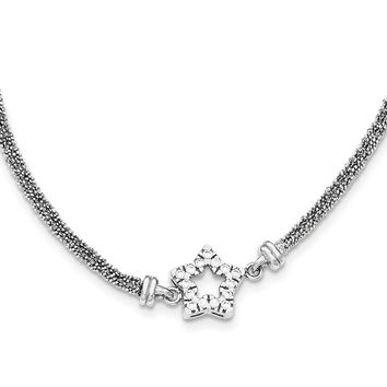 Sterling Silver CZ Star 2 Strand Diamond Cut with 2IN EXT Necklace