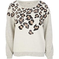 Cream animal print sweatshirt