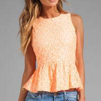 MM Couture by Miss Me Lace Peplum Tank in Orange from REVOLVEclothing.com