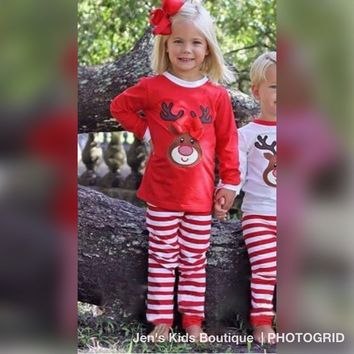 New Christmas Red Rudolph Red Nose Reindeer With Bow Girls Pajamas Pre-Order