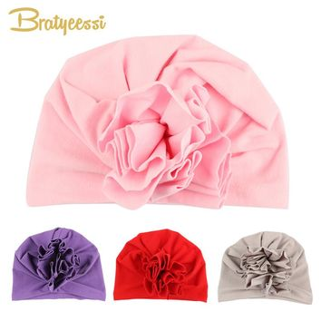 New Fashion Flower Baby Hat Newborn Elastic Baby Turban Hats for Girls 10 Colors Cotton Infant Beanie Cap 1 PC