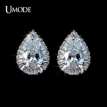 UMODE Classical! Pear shaped CZ Cubic Zirconia with Rectangle small CZ surrounded Tear Stud Earring UE0029