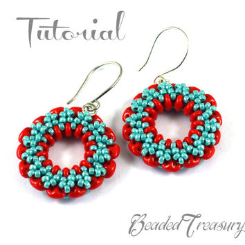 Wheel of Time - beading earrings pattern / Beading tutorial / superduo, seed beads / TUTORIAL ONLY