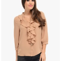 Pristine Button Up Ruffle Blouse | $10 | Cheap Trendy Blouses Chic Discount Fashion for Women | Mod