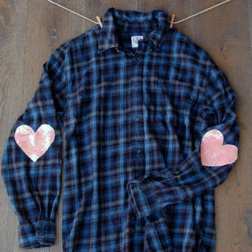 Sequin Flannel Shirt w Sequin Heart Elbow Patch Boyfriend Flannel Womens Grunge Hipster Sequin Elbow Patches Womens Flannel Shirt