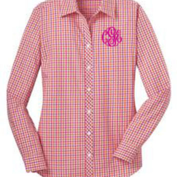 Monogrammed Ladies Long Sleeve Gingham Dress Shirt | Marley Lilly