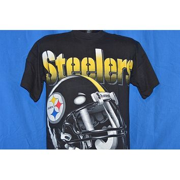 90s Pittsburgh Steelers Football Helmet Riddell t-shirt Medium