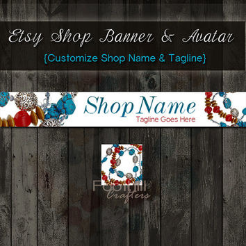 Etsy Shop Jewelry Banner and Matching Avatar, Premade Jewelry Beads Necklace, Customize Shop Name and Tagline, Graphic Design, Turquoise