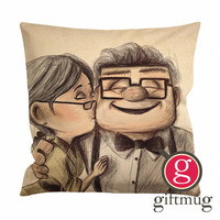 Disney Pixar Up Ellie And Carl Fredrickson Sketch Cushion Case / Pillow Case