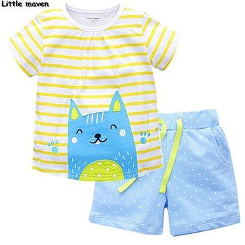 Little maven brand children clothing 2017 new summer baby girl clothes pretty cat print children's cotton clothing sets 62010