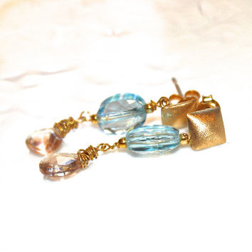 Swiss Blue Topaz Earrings Oregon Sunstone Earring Topaz Jewelry Geometric Earring Sunstone Jewelry Topaz Jewelry Geometric Jewelry FizzCandy