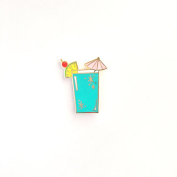 Retro Cocktail - Tropical Blue // cloisonné, hard enamel, pin badge, enamel pin, lapel pin