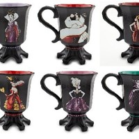 Disney Store Exclusive Designer Villians Mug Set of 6; Queen of Hearts, Maleficent, Ursula, Mother Gothel, Evil Queen, Cruella De Vil Graphic Design