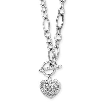 Sterling Silver 18 Inch CZ Heart Charm and Toggle Link Necklace 8a6e8b4cf