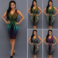 Sexy Women Summer Bandage Dress New Style Rainbow Color Bodycon Evening Party Short Mini Dresses Hot Selling Package Hip Dress