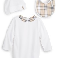 Infant Girl's Burberry Bodysuit, Bib & Hat,